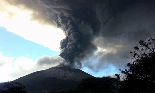 View of the Chaparrastique volcano spewing ashes and smoke in San Mig