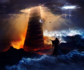 Sorcerer in hood standing in front of an ancient destructed Babylon tower with flood, fire & hurricane illustration.